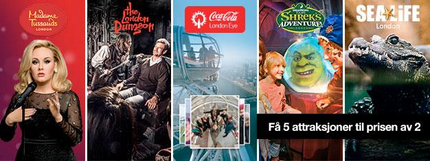 Kjøp 2 og få 3 ekstra topp attraksjoner! Besøk Madame Tussauds, London Eye, London Aquarium, Shrek's Adventure + London Dungeon. Bestill på nett!