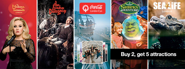 See more! Book 2 London attractions and receive tickets for 2 more! Madame Tussauds, London Eye, London Aquarium plus Shrek's Adventure or London Dungeon.