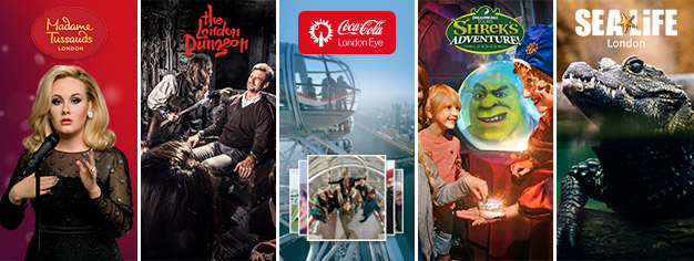 Buy 2 and get 3 extra top attractions! Visit Madame Tussauds, London Eye, London Aquarium, Shrek's Adventure and London Dungeon. Book your tickets online!