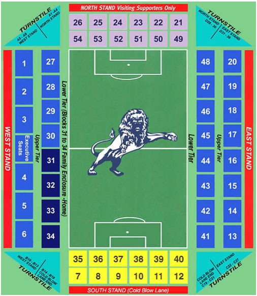 Plano del estadio The Den