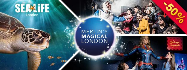 Découvrez 3 des meilleures attractions de Londres - Le musée de cire Madame Tussauds, le Donjon et L'Aquarium Sea Life ! Réservez en ligne et économisez 50% du prix !