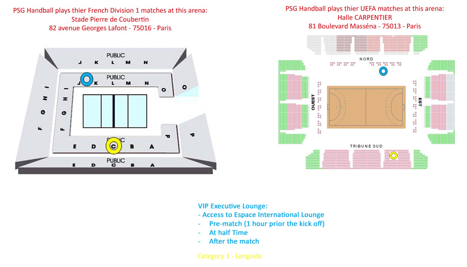 Venue seatingplan Pierre de Coubertin / Halle Carpentier