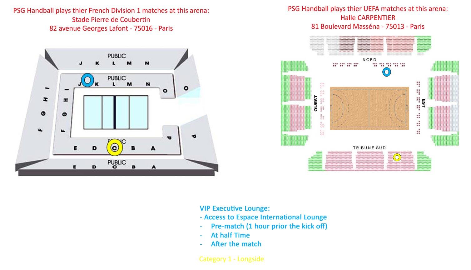 Seatingplan Pierre de Coubertin / Halle Carpentier