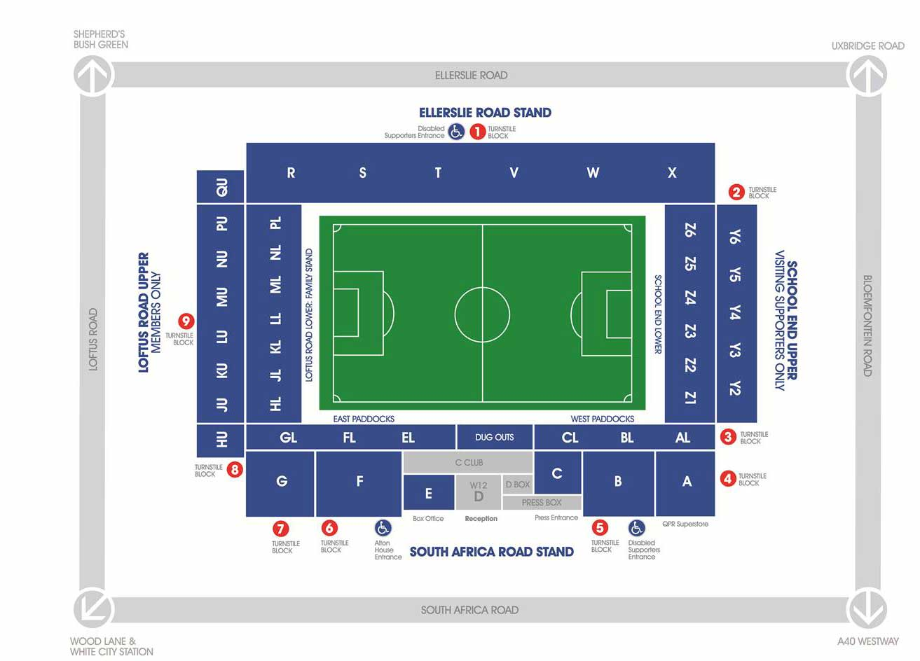 Venue seatingplan Loftus Road