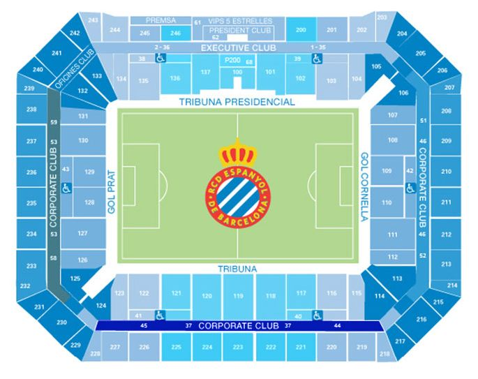 Plano de lugares Power8 Stadium