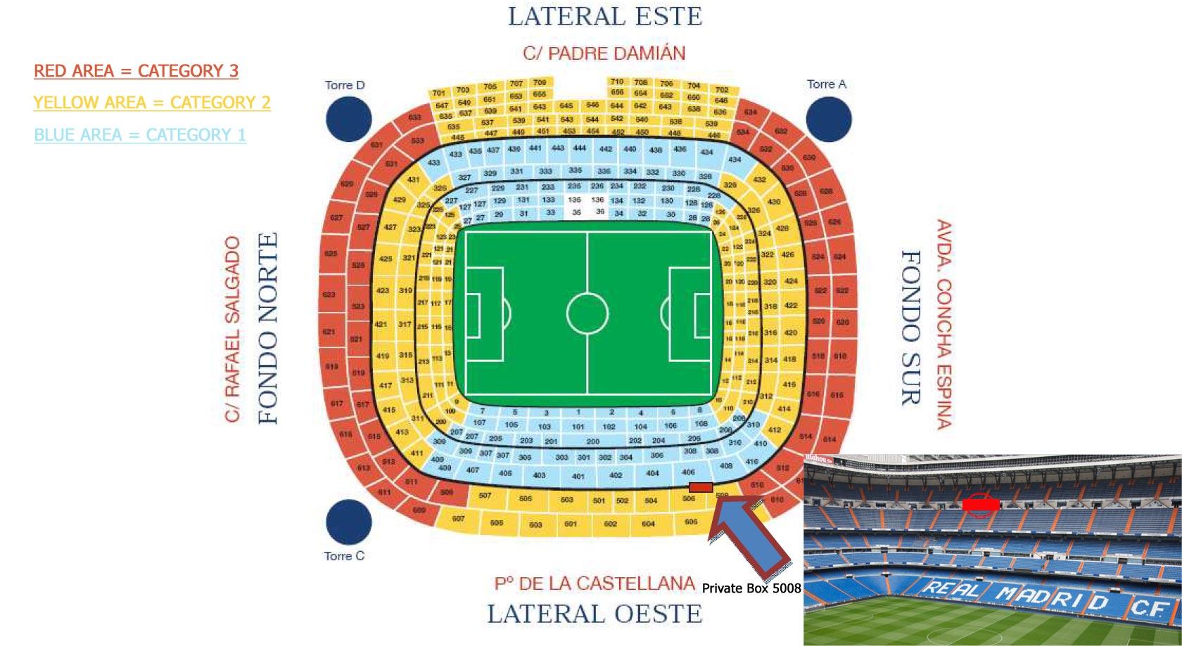 Plan de l'arène Santiago Bernabeu