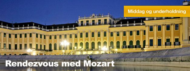Rendezvous med Mozart på Schönbrunn Slot i Wien er inkl. et besøg på slottet, en god middag og en dejlig koncert. Billetter til Rendezvous med Mozart her!