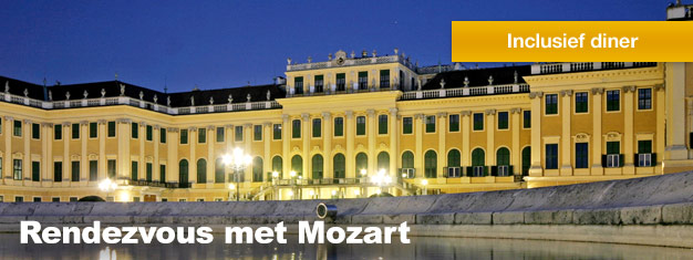 Rendezvous met Mozart in het Schönbrunn Paleis in Wenen is incl. een bezoek aan het Paleis, een heerlijk diner en een klassiek concert. Boek uw tickets voor Rendezvous met Mozart hier!