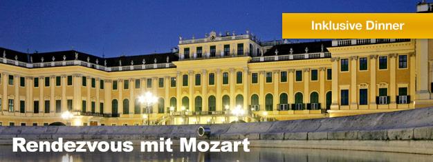 Rendezvous mit Mozart im Schloss Schönbrunn in Wien inkl. eines Schlossbesuchs, einem schönen Dinner und einem klassischen Konzert. Buchen Sie Tickets für Ihr Rendezvous mit Mozart hier!