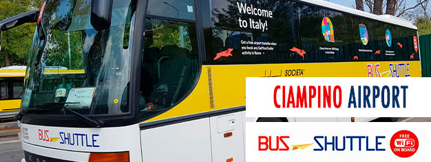 Hop on the shuttle bus service from Ciampino Airport to Rome Termini Train Station. The journey takes about 40 minutes depending on traffic. Book online!