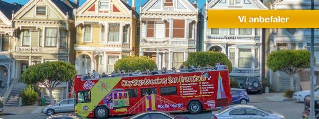 Oplev San Francisco med en Hop-af Hop-på bus. Højdepunkter inkluderer Golden Gate Bridge, Sausalito, en aftentur og meget mere. Bestil online her.