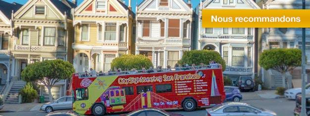 Découvrez San Francisco avec nos Bus. Visitez les monuments suivants: Le Golden Gate Bridge, Sausalito, une visite de nuit et bien plus encore. Achetez vos billets en ligne ici.