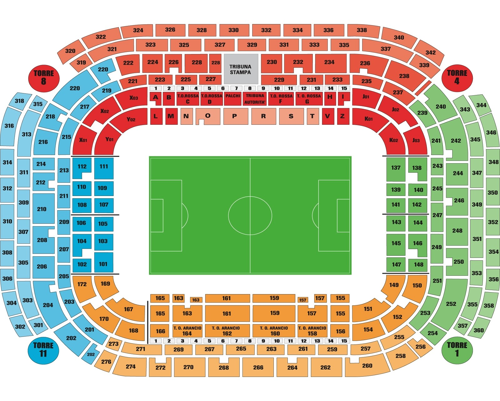 Seatingplan Stadio San Siro Meazza