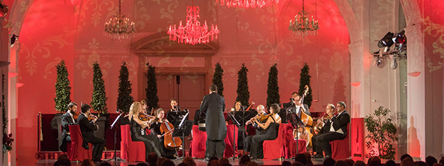Classical music performed livein concerts at Schoenbrunn Palace Orangery in Vienna with program by Mozart and Strauss. Book tickets for Schönbrunn Palace Concert here!
