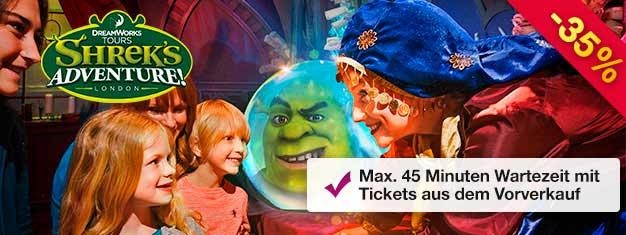Shrek's Adventure! ist ein eine einzigartige Walk & Ride Attraktion für die ganze Familie! Sparen Sie Zeit mit Tickets aus dem Vorverkauf! Max. 45 Minuten Wartezeit!