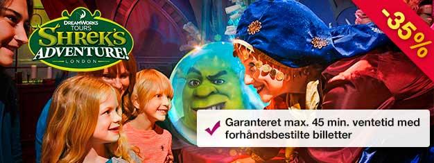 Shrek's Adventure er en unik attraktion for hele familien til fods og med bus! Spar tid med billetterne købt hjemmefra! Max. 45 min. ventetid!