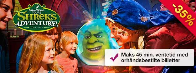 Shrek's Adventure! er en unik opplevelsefor hele familien! Spar tid med forhåndsbestilte billetter! Maks 45 minutters ventetid!