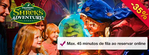 Shrek's Adventure!, as aventuras do Shrek em Londres, é um passeio divertidíssimo ao Reino de Tão Tão Distante. Ganhe tempo com os bilhetes pré-comprados e tempo de espera máximo em 45min!