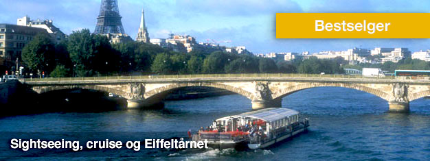Forhåndsbestillbilletter til en tredelt sightseeingtur i Paris -på land, i vann og i luften. Slipp køene og sealle høydepunktene inkl. Eiffeltårnet!
