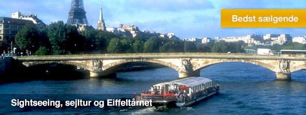 Bestil billetter til denne sightseeingtur i Paris - til vands, til lands og i luften. Inkl. Eiffeltårnet med spring-køen-over! Du får meget for pengene!