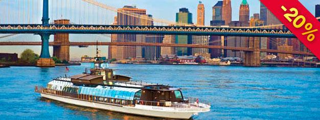 Förboka Sightseeing NYC Lunchkryssning och njut av en eftermiddag med lunch, musikunderhållning och en otrolig utsikt! Boka biljetter på nätet!