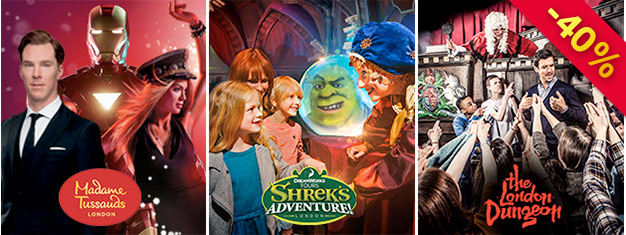 Save 40% on tickets Madame Tussauds, London Dungeon & Shrek's Adventure with our super saver London Combo Silver Package! Book today and save!