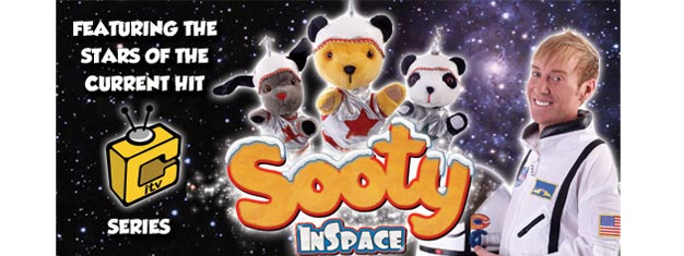 Sooty In Space in London! 5, 4, 3, 2, 1 Blastoff! Direct from their hit ITV series - it's Sooty, Sweep, Soo and Richard. Tickets for Sooty In Space in London!