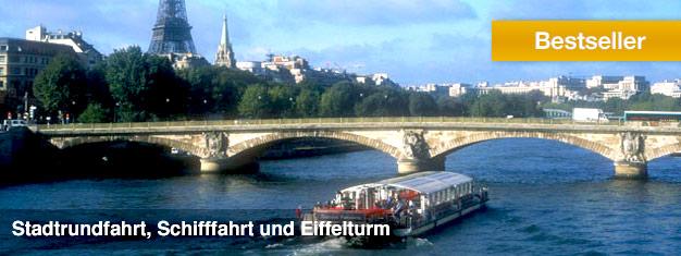Buchen Sie hier Tickets für die Kombi-Tour mit Bus, Schiff und Eiffelturm in Paris. Sehen Sie die Sehenswürdigkeiten der Stadt, mit Skip the Line zum Eiffelturm!