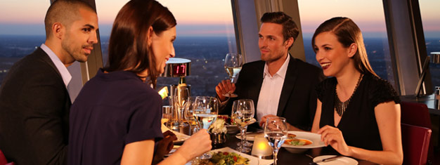 Dinner at the revolving restaurant at the top of the TV Tower on Alexanderplatz in Berlin is a true VIP experience. Book your dinner tickets for the TV Tower in Berlin here!