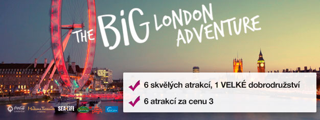 Pay for two attractions and get four attractions FREE! Madame Tussauds, London Eye, London Eye Cruise, SEA LIFE, Shrek's Adventure & London Dungeon.
