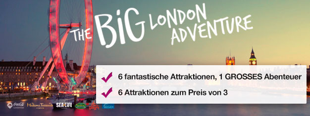 2 Attraktionen kaufen, 4 Weitere GRATIS dazu! Madame Tussauds, Coca-Cola London Eye, London Eye River Cruise, SEA LIFE London, Shrek´s Adventure und London Dungeon.