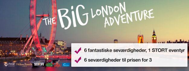Betal for tre attraktioner og få tre GRATIS! Madame Tussauds, London Eye, London Eye-cruise, SEA LIFE London, Shrek's Adventure! & London Dungeon.
