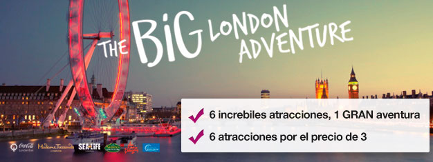 Paga 2 atracciones y consigue 4 más completamente GRATIS! Madame Tussauds, London Eye, London Eye Cruise, SEA LIFE, Shrek's Adventure & London Dungeon
