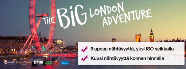 Osta liput kahteen turistikohteeseen & näe neljä lisää ILMAISEKSI! Madame Tussauds, London Eye, London Eye Cruise, SEA LIFE, Shrek's Adventure & London Dungeon.