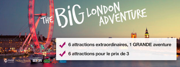 Pour le prix de deux attractions bénéficiez de l'accès GRATUIT à quatre attractions supplémentaires: Madame Tussauds, Coca-Cola London Eye, London Eye River Cruise, SEA LIFE London Aquarium, Shrek's Adventure! London et le London Dungeon.