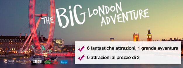 Acquista 2 attrazione e ricevine 4 IN OMAGGIO! Madame Tussauds, London Eye, Crociera London Eye, SEA LIFE, Shrek's Adventure e London Dungeon.