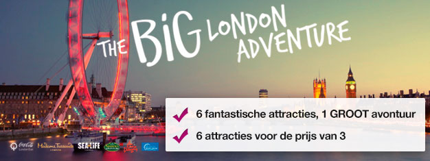 Koop twee attracties en krijg er vier GRATIS bij! Madame Tussauds, London Eye, London Eye Cruise, SEA LIFE, Shrek's Adventure & London Dungeon.