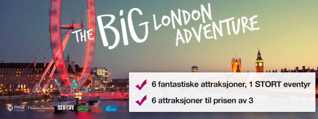 Betal for to attraksjoner og få fire attraksjoner GRATIS! Madame Tussauds, London Eye, London Eye Cruise, SEA LIFE, Shrek's Adventure & London Dungeon.