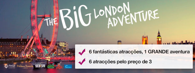 Compre 3 e receba 3 atracções adicionais GRÁTIS em Londres! Museu Madame Tussauds, Coca-Cola London Eye, cruzeiro do London Eye, Aquário SEA LIFE, Shrek's Adventure & London Dungeon.