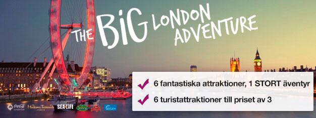 Betala för tre turistattraktioner och få tre attraktioner GRATIS! Madame Tussauds, London Eye, London Eye Cruise, SEA LIFE, Shrek's Adventure & London Dungeon.