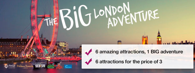 Pay for three attractions and get three attractions FREE! Madame Tussauds, London Eye, London Eye Cruise, SEA LIFE, Shrek's Adventure & London Dungeon.