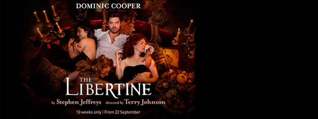 Dominic Cooper returns to the stage in Londons West End to play the notorious Earl of Rochester in this major revival of The Libertine. Book your tickets here!