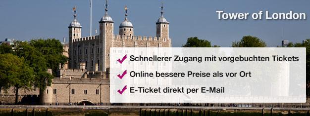 Der Tower of London bietet Ihnen die Möglichkeit die Kronjuwelen, Beefeaters, den Bloody Tower und das Traitors Gate zu sehen. Erleben Sie dieses Wahrzeichen der Geschichte Englands!