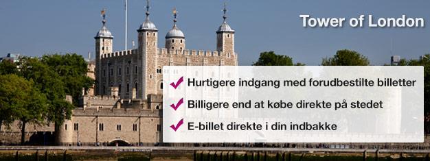 På The Tower of London kan du opleve de engelske kronjuveler, The Beefeaters, The Bloody Tower og The Traitors Gate. Gå ikke glip af dette stykke London historie!