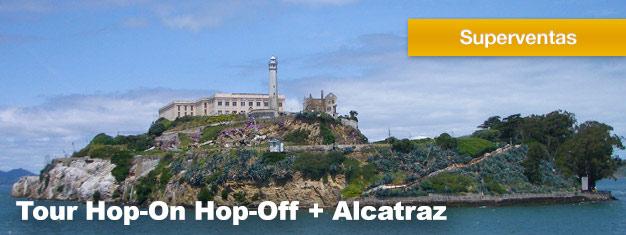 Este pack 4-en-1 del tour Hop-On Hop-Off es la mejor experiencia turística de San Francisco. Este pack también incluye una visita a la Isla de Alcatraz. Compra en línea!