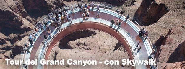 Visita l'attrazionepiù famosa dell'intera Arizona: il Grand Canyon. Il tour comprende anche una passeggiata sullo Skywalk. Goditi un posto unico al mondo!