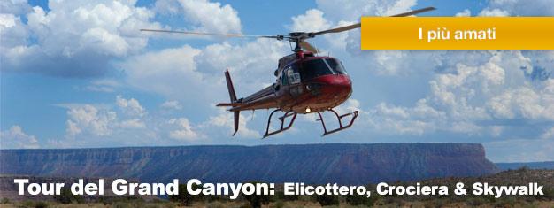 Goditi il meglio del Grand Canyon con questa offerta imperdibile che comprende un giro in elicottero, una crociera ed una passeggiata sullo Skywalk! Prenota qui!