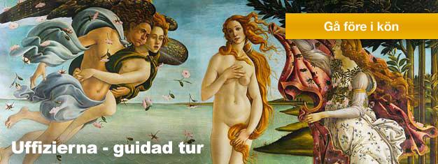 Entré biljett och guidad tur i Uffizierna i Florens. Uffizi rymmer några av världens finaste verk från den italienska renässansen. Förboka och gå före i kön!