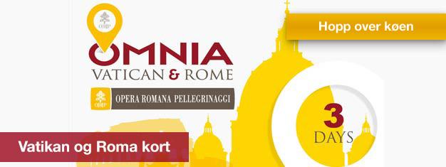 Med et Vatikanet og Roma-pass får du fri tilgang til Vatikanet, billetter til to toppattraksjoner, ubegrenset transport i Roma, og mye mer.