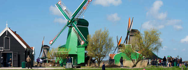 Visit the beautiful Dutch countryside. See the windmill village Zaanse Schans, the former island Marken and the fishing village Volendam. Book here!